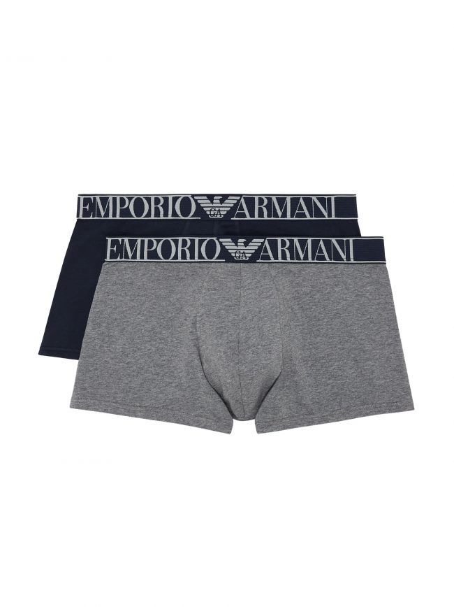 Navy Grey 2 Pack Mid Waist Boxer