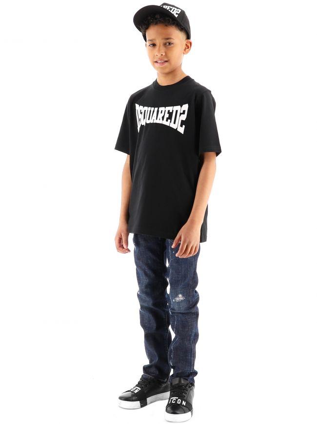 DSQUARED2 Kids Black Slouch Fit T-Shirt