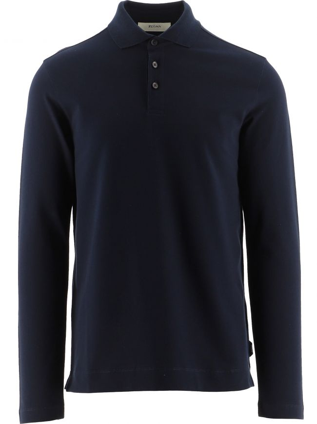 Navy Long Sleeve Polo Shirt