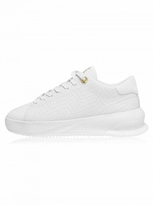 Azure White Leather Snake Pattern Sneaker