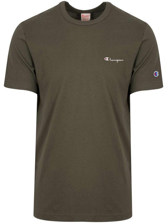 Reverse Weave Green Logo T-Shirt