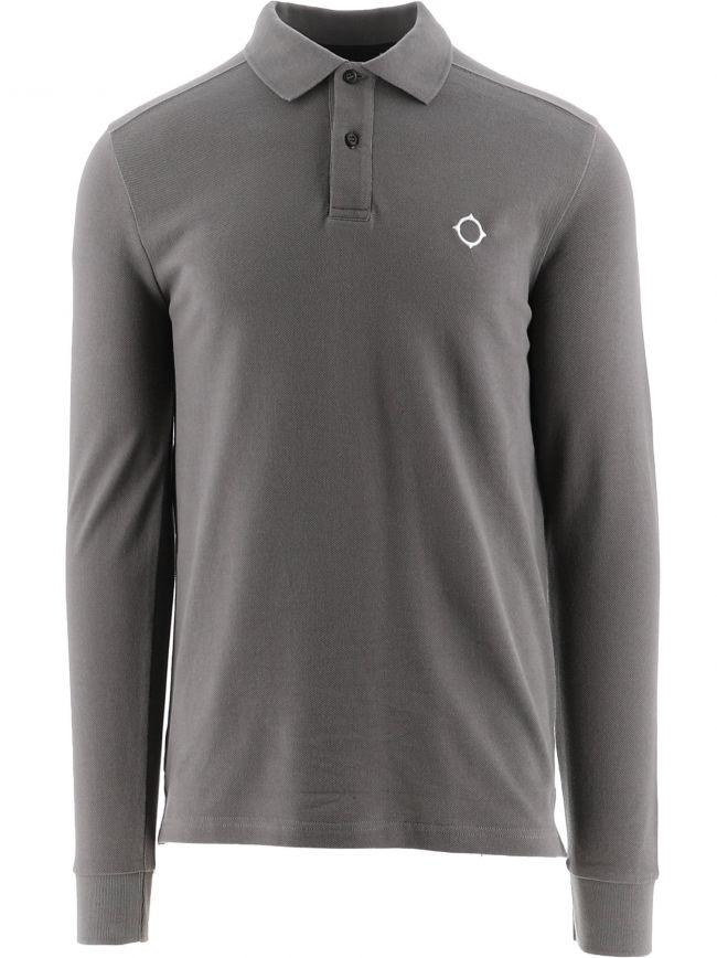 Grey Long Sleeve Pique Polo Shirt