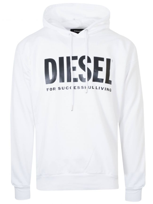 White Logo Hooded Sweatshirt