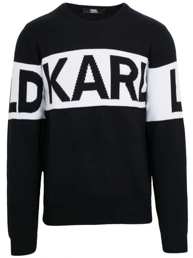 Black Knit Crew Neck Sweatshirt