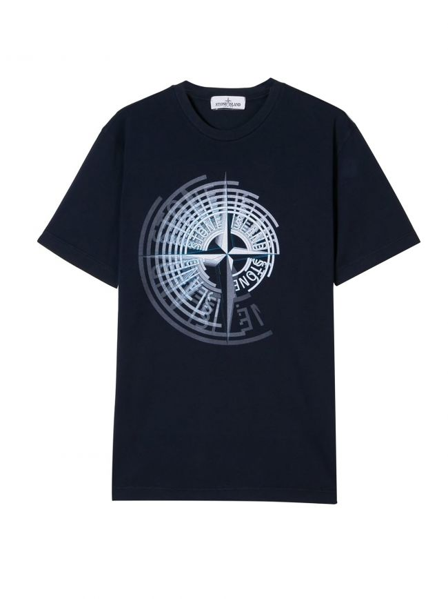 Navy Blue Printed Compass Logo T-Shirt