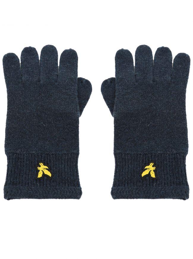 Navy Racked Rib Gloves