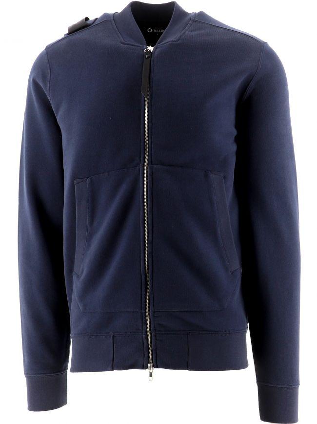 Navy Full Zip Bomber Sweatshirt
