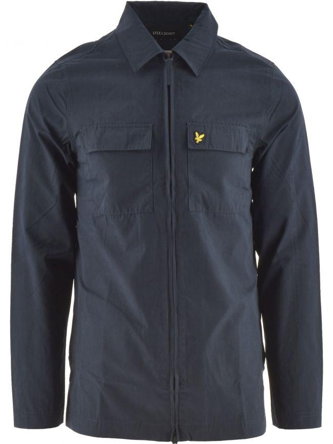 Dark Navy Cotton & Nylon Overshirt