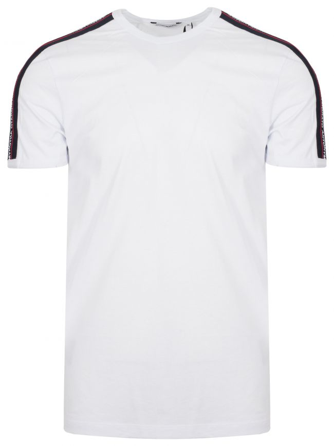 Crew Neck White Shoulder Taped T-Shirt