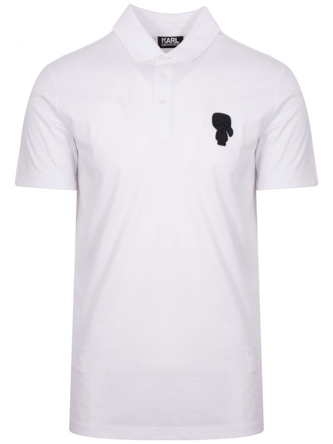 White Tonal Rubber Logo Polo Shirt