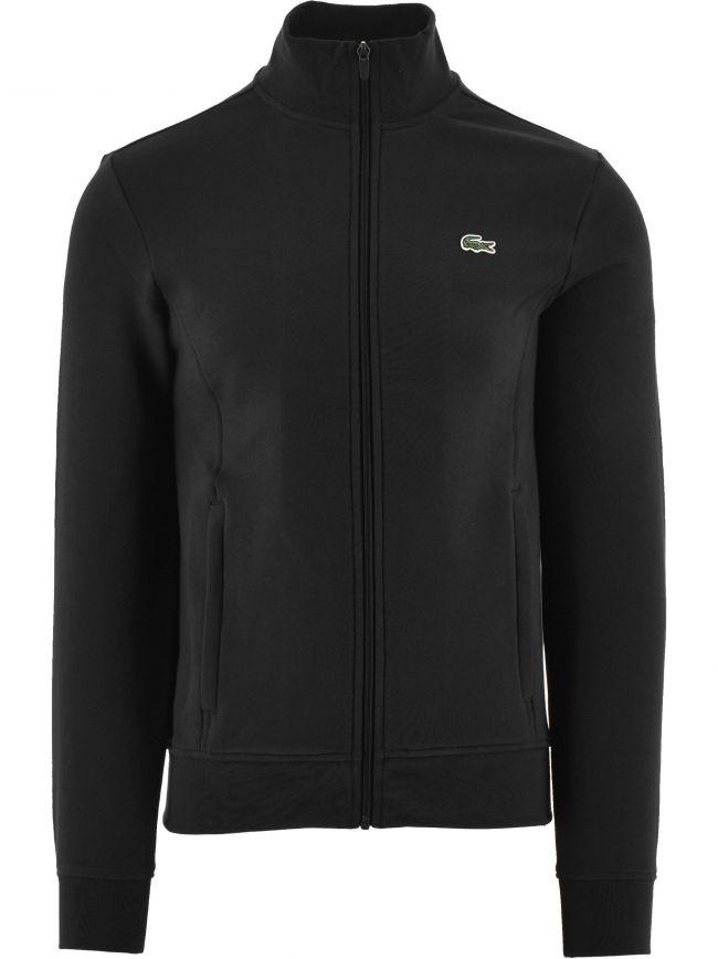 Black Cotton Blend Fleece Zip Sweatshirt