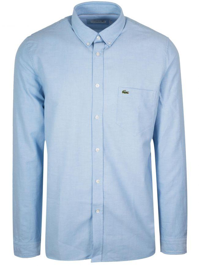 Long-Sleeved Light Blue Oxford Shirt
