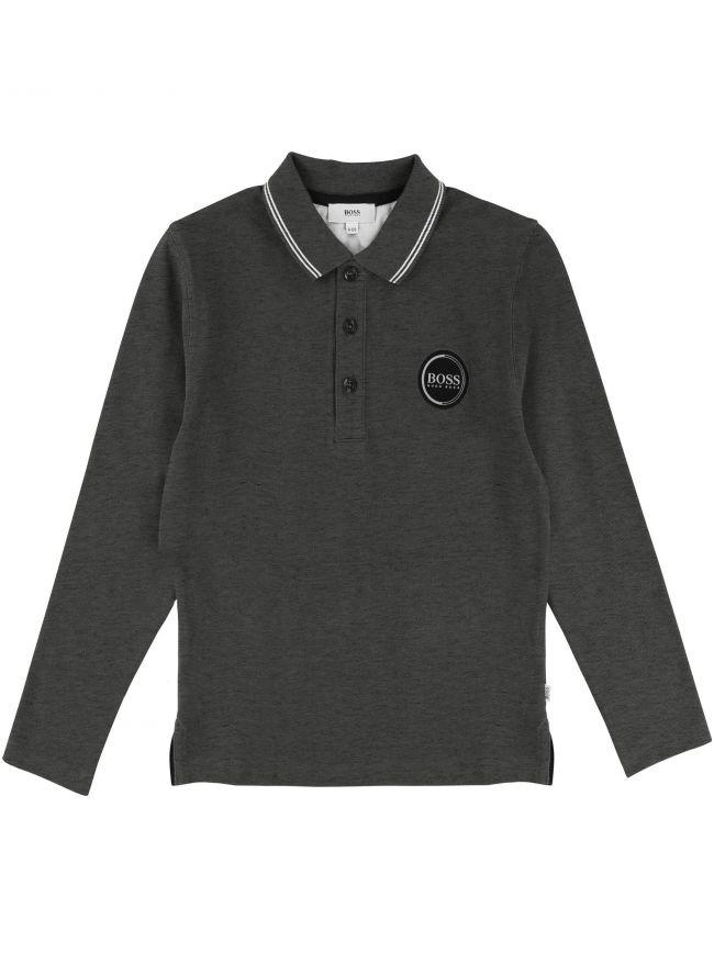 Dark Grey Long-Sleeve Polo Shirt