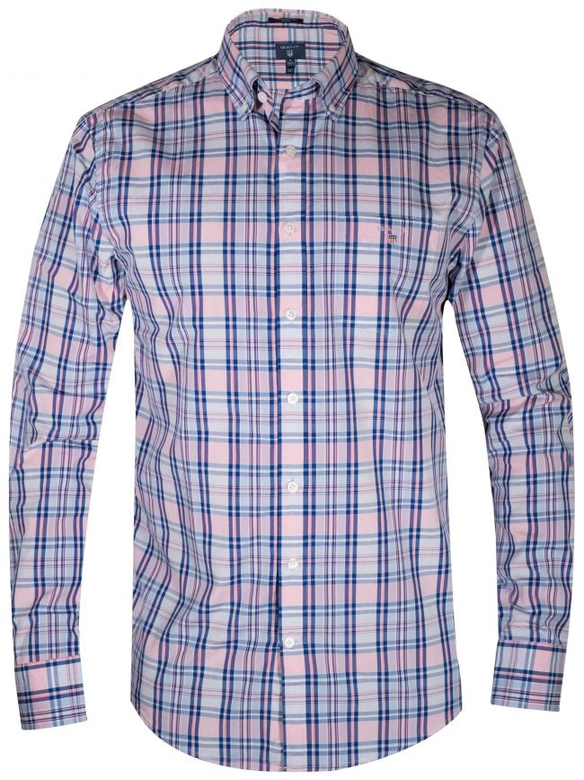 Pink Broadcloth Plaid Long-Sleeve Shirt