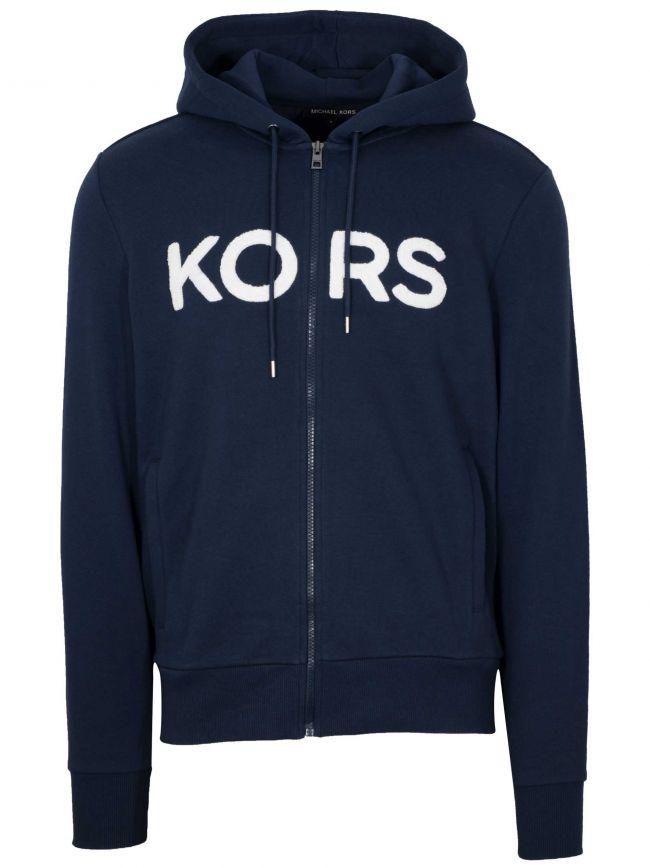 Navy Blue Zipped Hooded Sweatshirt