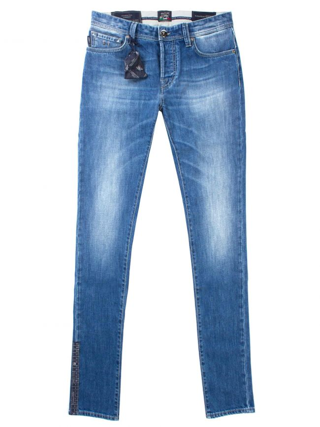 Denim Blue Print Leonardo Jean