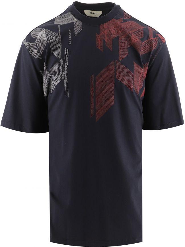 Blue Overlap Lines Print T-Shirt