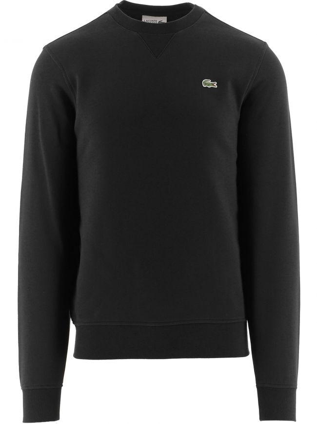 Black Cotton Crew Neck Sweater