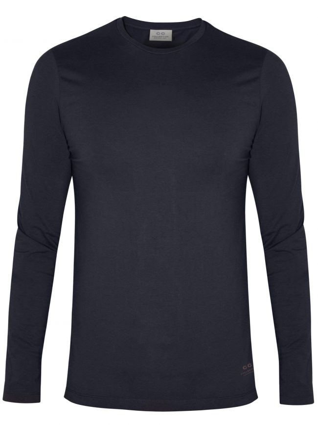 Navy Long Sleeve Crew Neck T-Shirt
