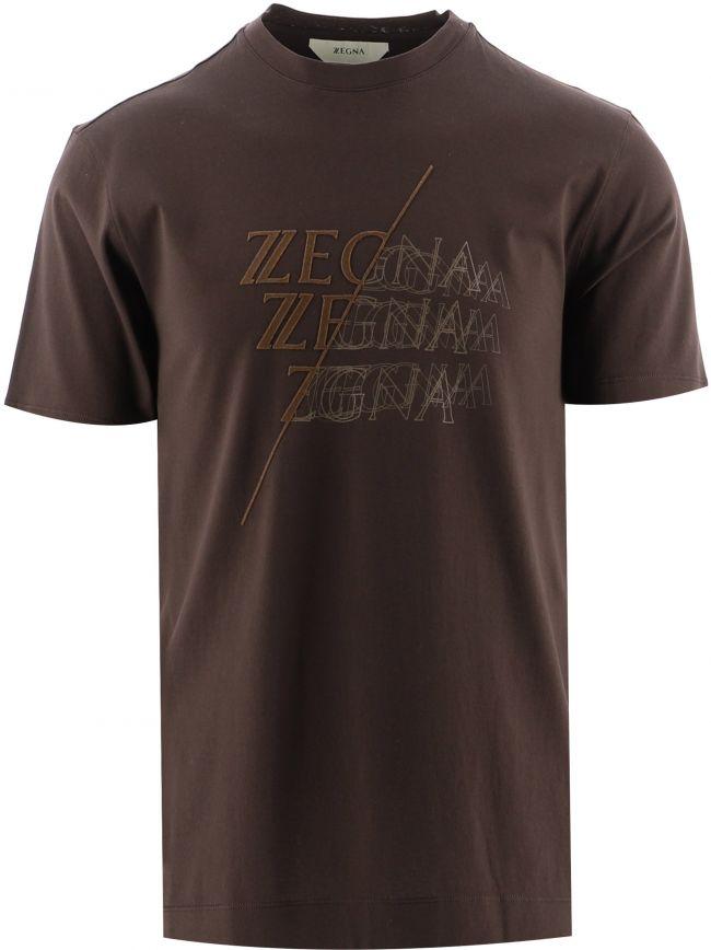 Brown Logo Overlap Print T-Shirt