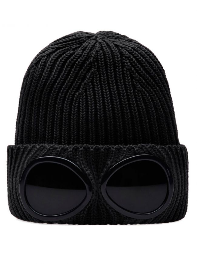 Black Goggle Beanie Wool Hat