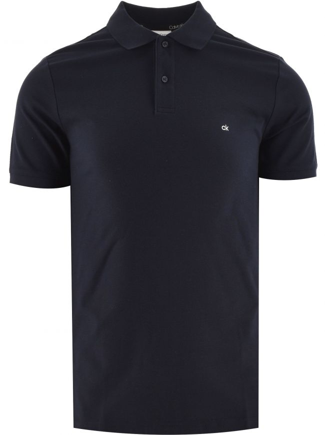 Blue Logo Slim Fit Refined Pique Polo Shirt
