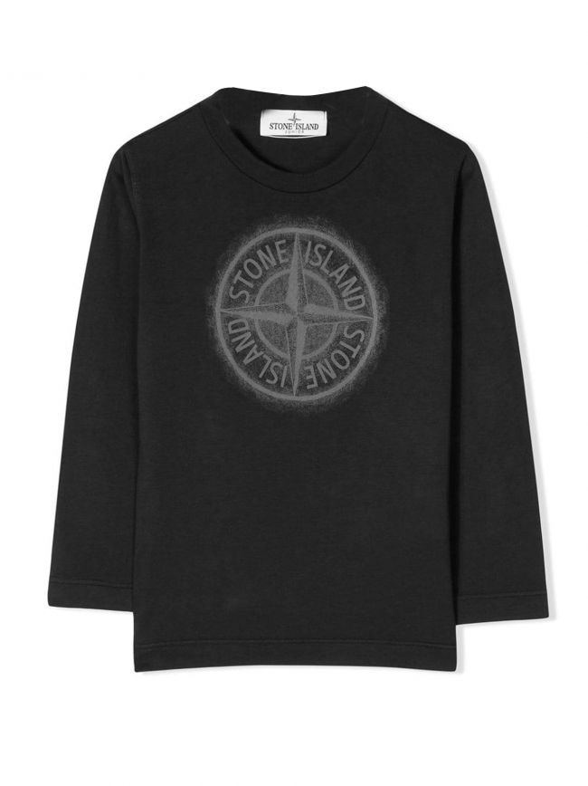 Black Printed Chest Logo T-Shirt