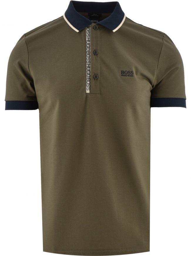 Khaki Slim Fit Oxford Pique Polo Shirt