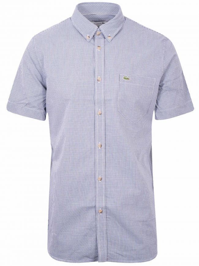 Regular Fitting Short-Sleeved Navy Check Shirt