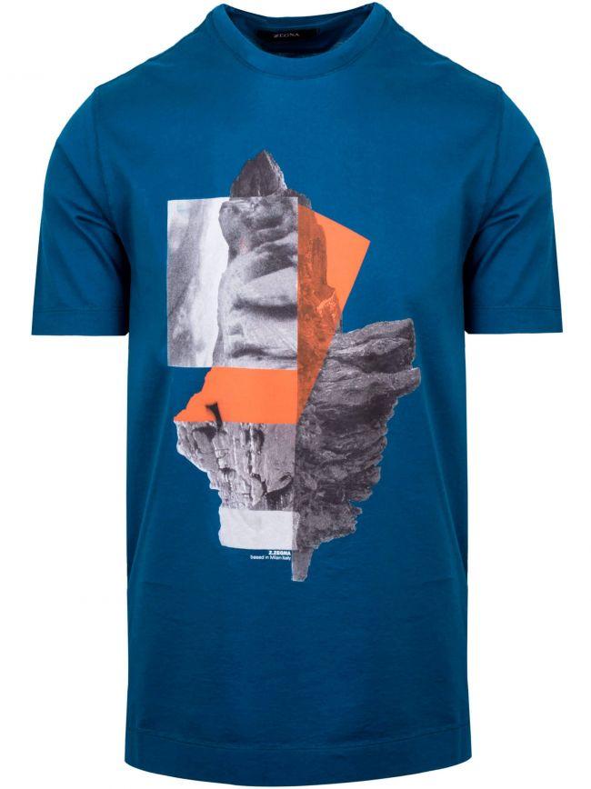 Blue Milan Print Logo T-Shirt