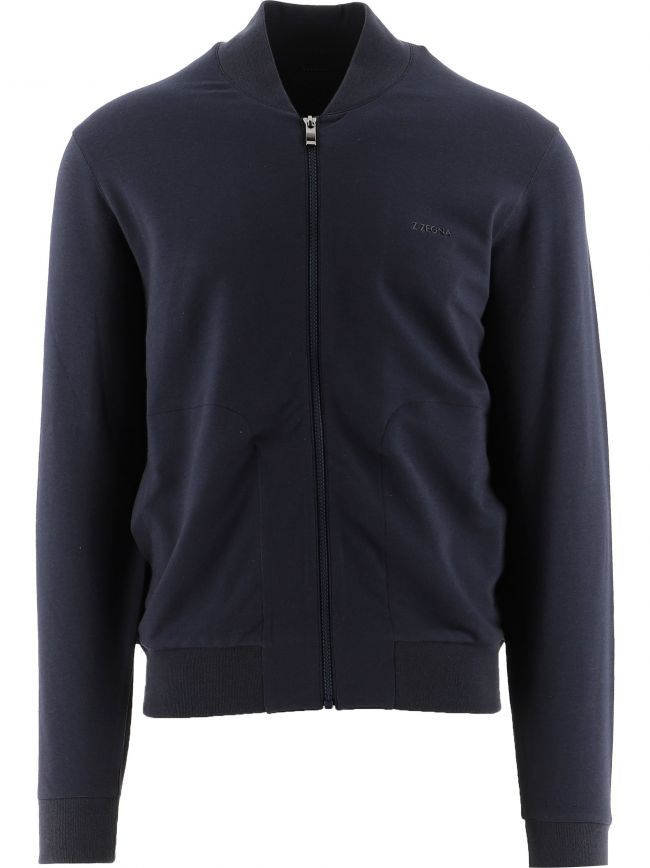 Navy Cotton Modal Full Zip Sweatshirt