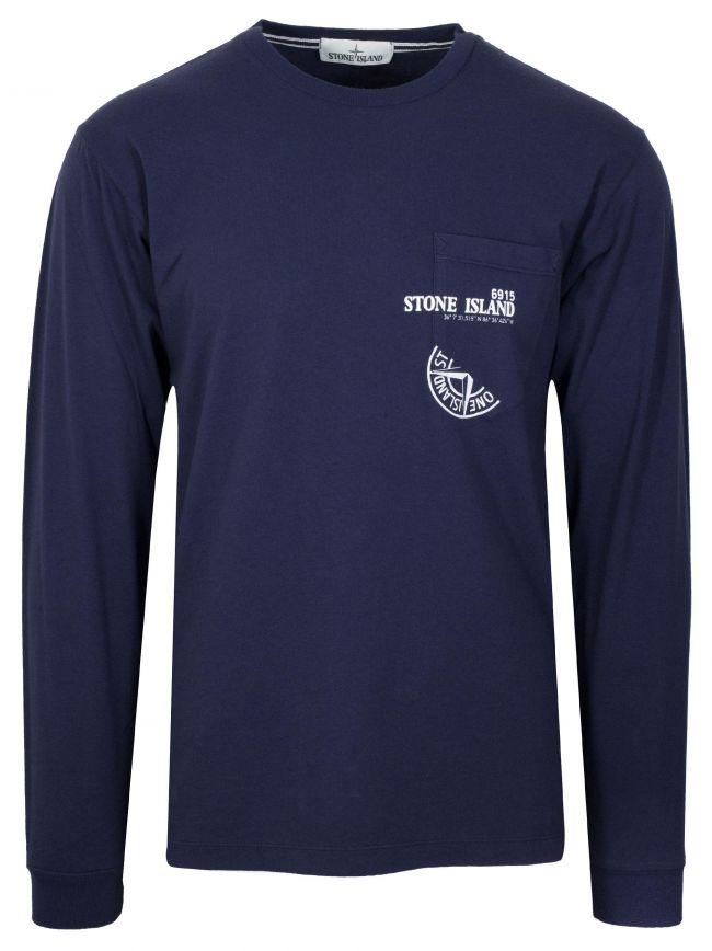 Ink Blue Pocket Long Sleeve T-Shirt