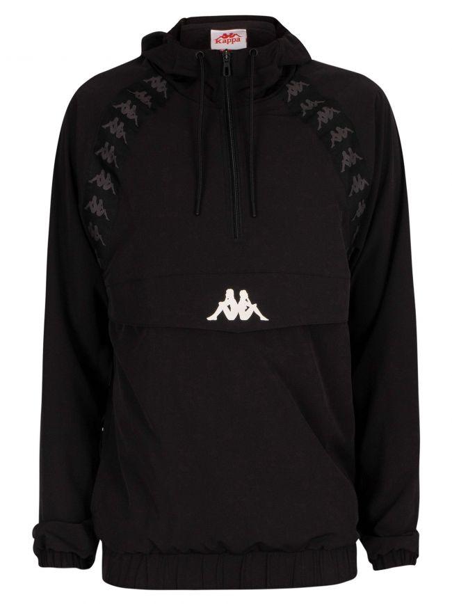 Black Banda Half Zip Hooded Jacket