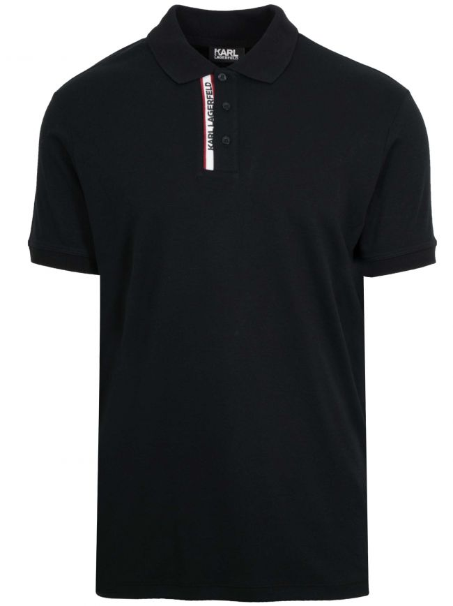 Black Logo Placket Polo Shirt