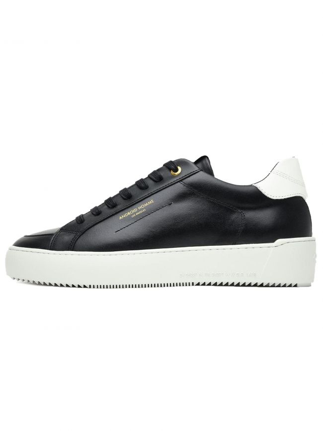Jet Black Leather Suede Trim Zuma Sneakers