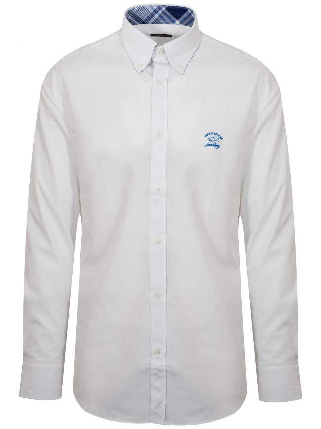 Shark Fit White Long Sleeve Shirt
