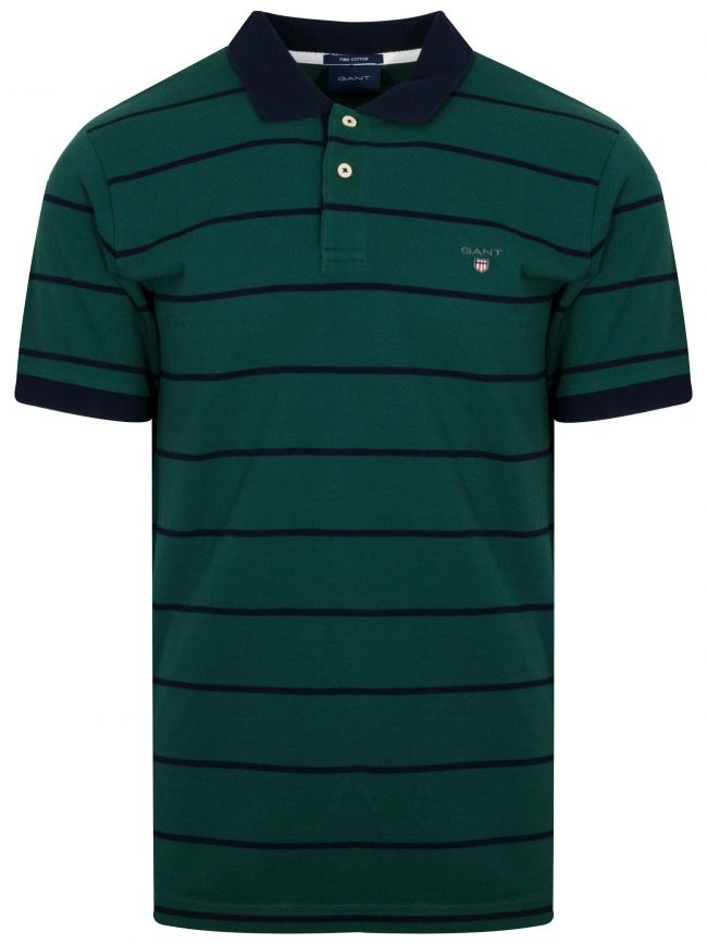 Ivy Green Striped Polo Shirt