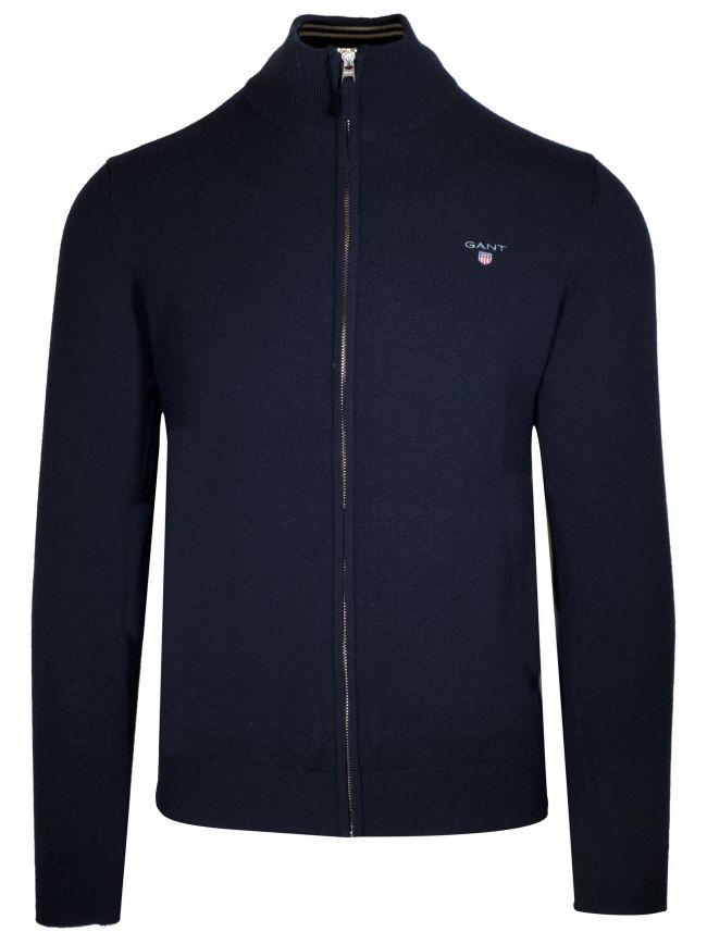 Super Fine Lambswool Full-Zip Navy Sweatshirt