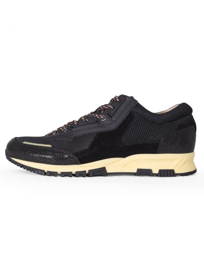 Black Suede Leather and Mesh Runner