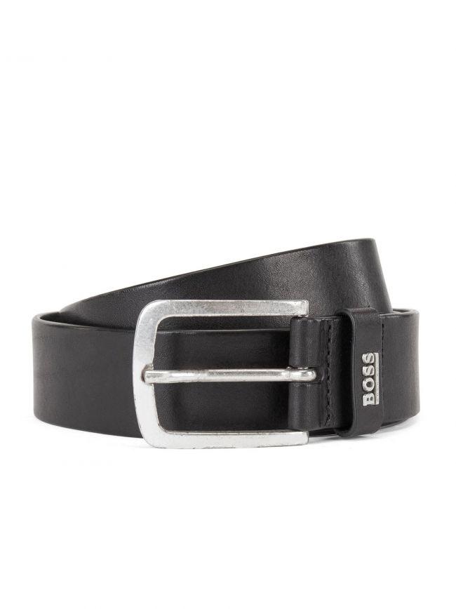 Black Jor Logo Leather Belt