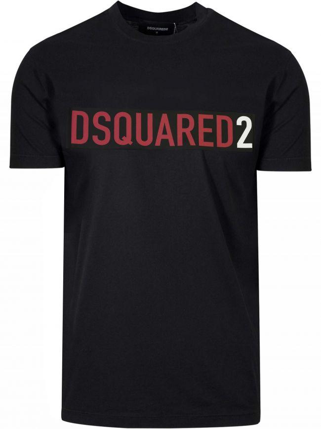 Black & Red Logo Print T-Shirt