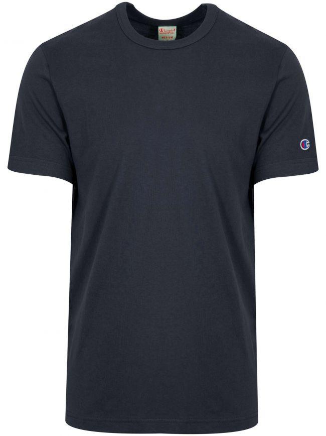 Reverse Weave Navy Arm Logo T-Shirt
