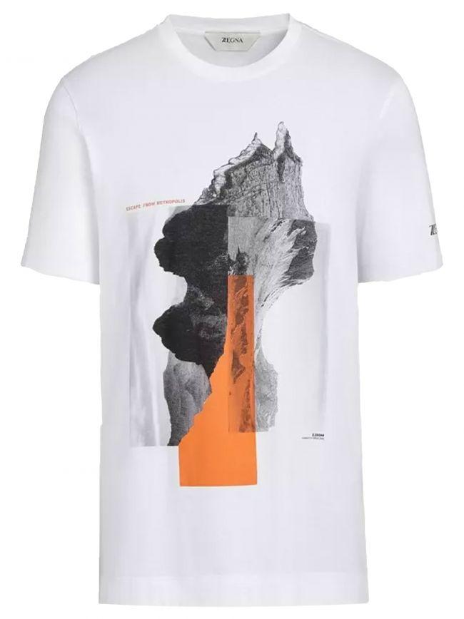 White Milan Print Logo T-Shirt