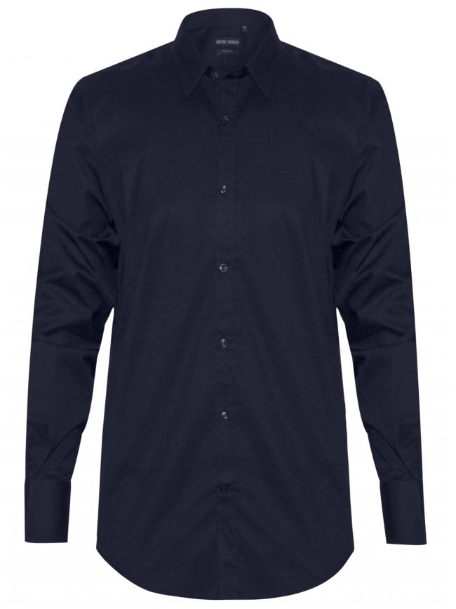 Plain Navy 'Super Slim' Fit Shirt