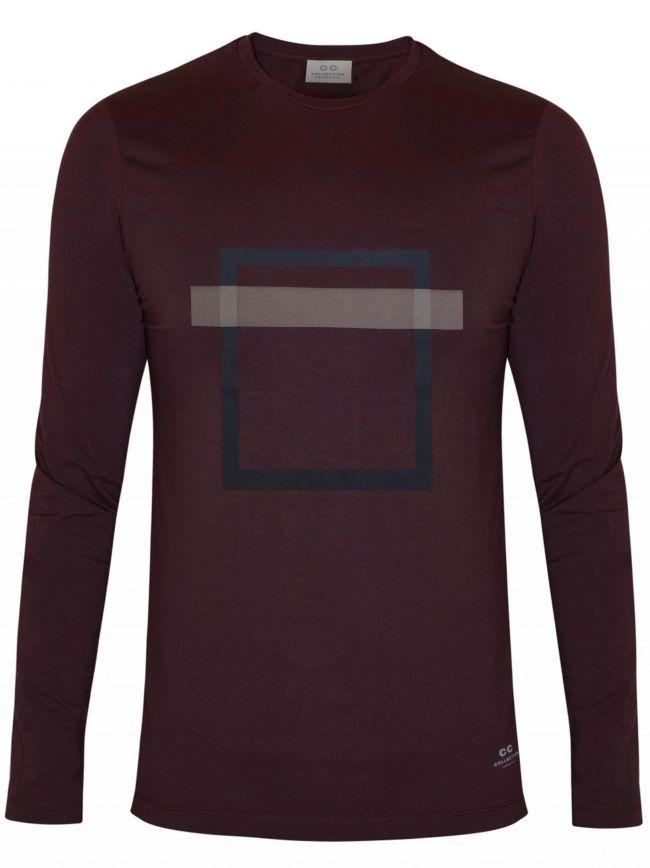 Burgundy Square Print T-Shirt
