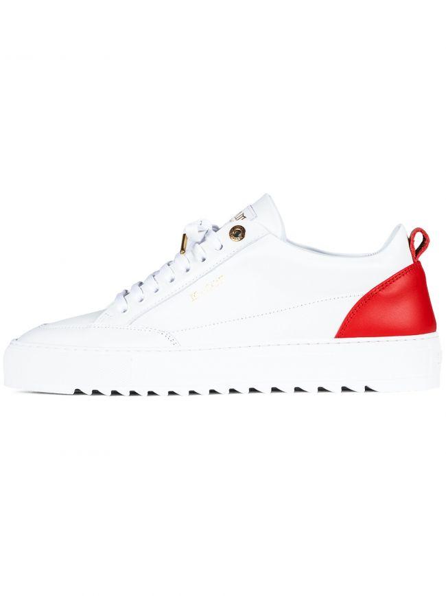 White Tia Leather Red Heel Sneaker