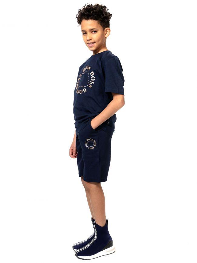 BOSS Kids Navy Logo Print T-Shirt