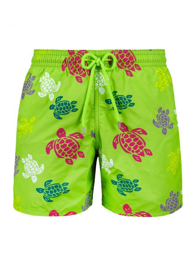 Grass Green Multi-Colour Turtle Swim Shorts