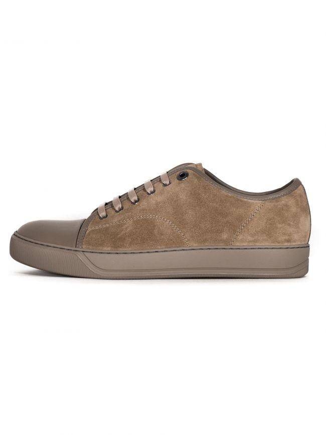 Light Beige Suede & Leather Toe Cap Sneaker