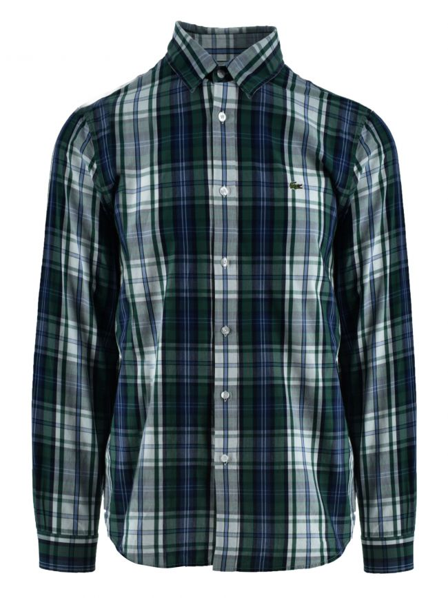 Long-Sleeved Navy Check Shirt